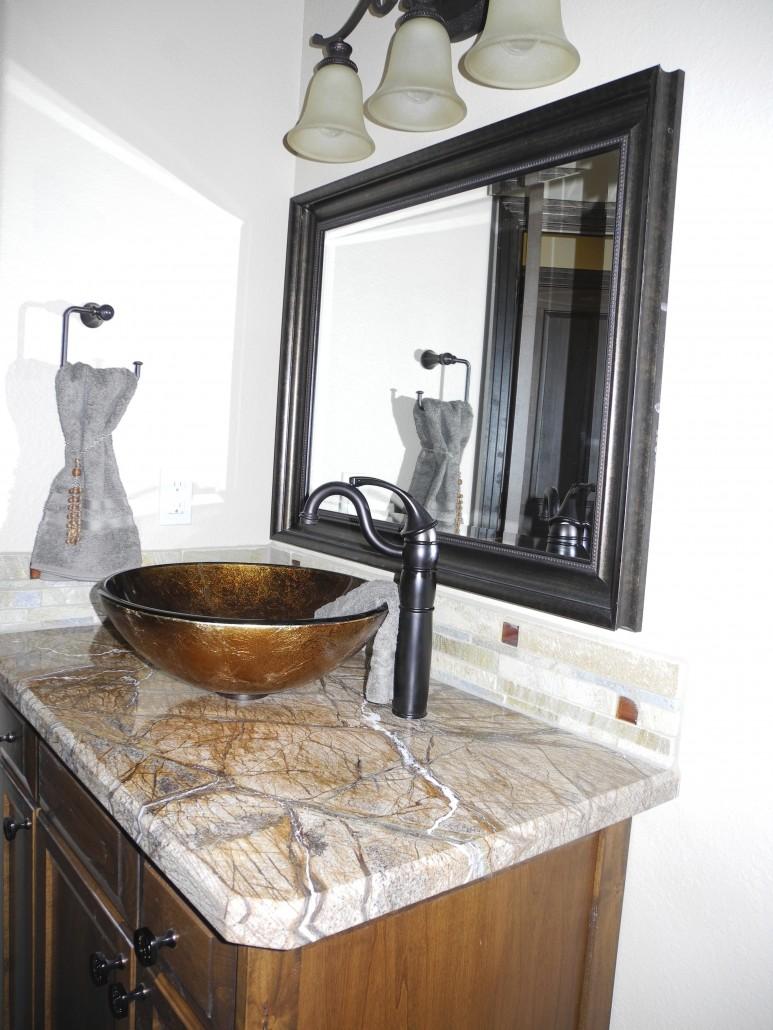 Glass Vessel Sink Granite Slab Powder Bathroom Lee