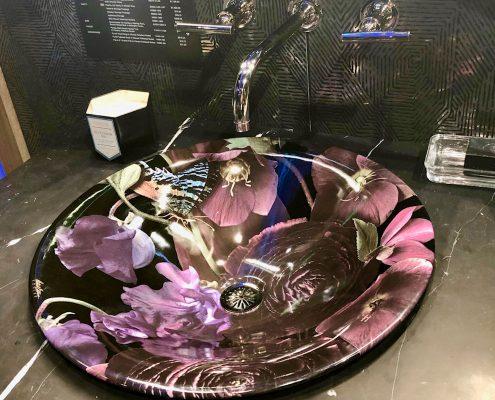 custom home kohler round bathroom sink midnight floral