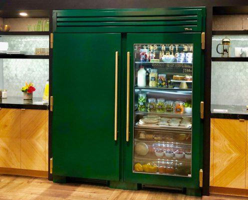 custom home true appliances forest green refrigerator